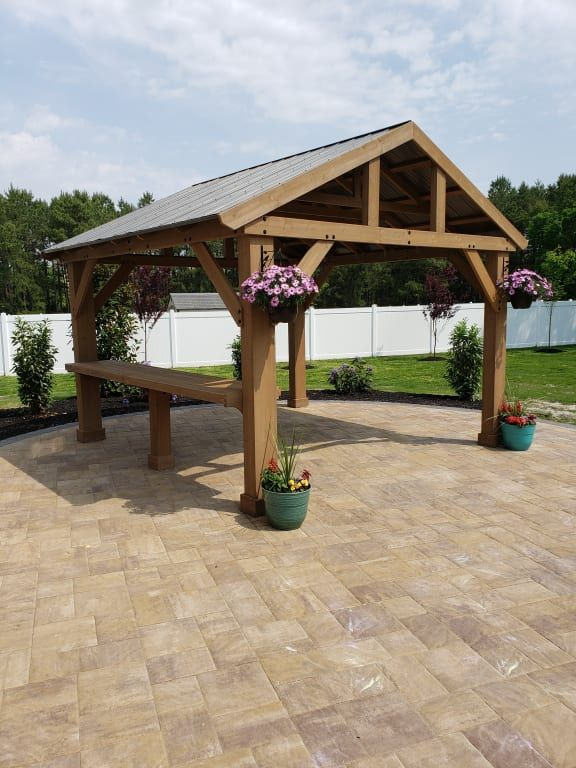 14 x 12 WOOD GAZEBO WITH ALUMINIUM ROOF - Yardistry ... on Yardistry Backyard Pavilion id=99679
