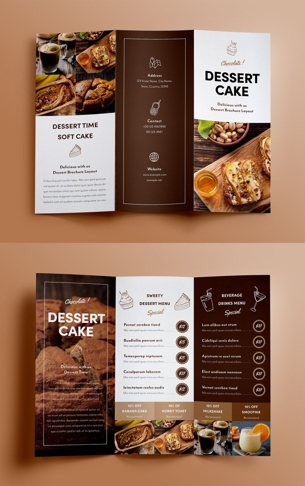 Dessert Menu Trifold Brochure Layout. Buy this stock