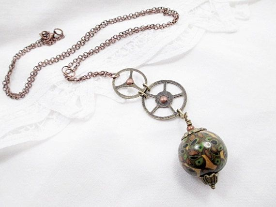 Steampunk Goth Lariat Necklace Green Bead by LittleBitsOFaith, $25.00