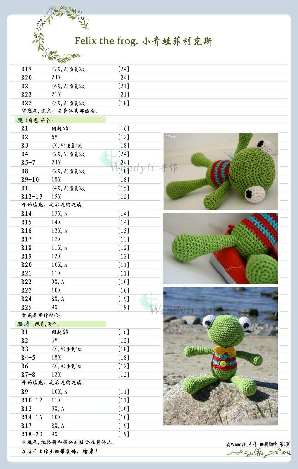 felix the frog | Muñecos | Pinterest | Patrones amigurumi, Virgen de ...