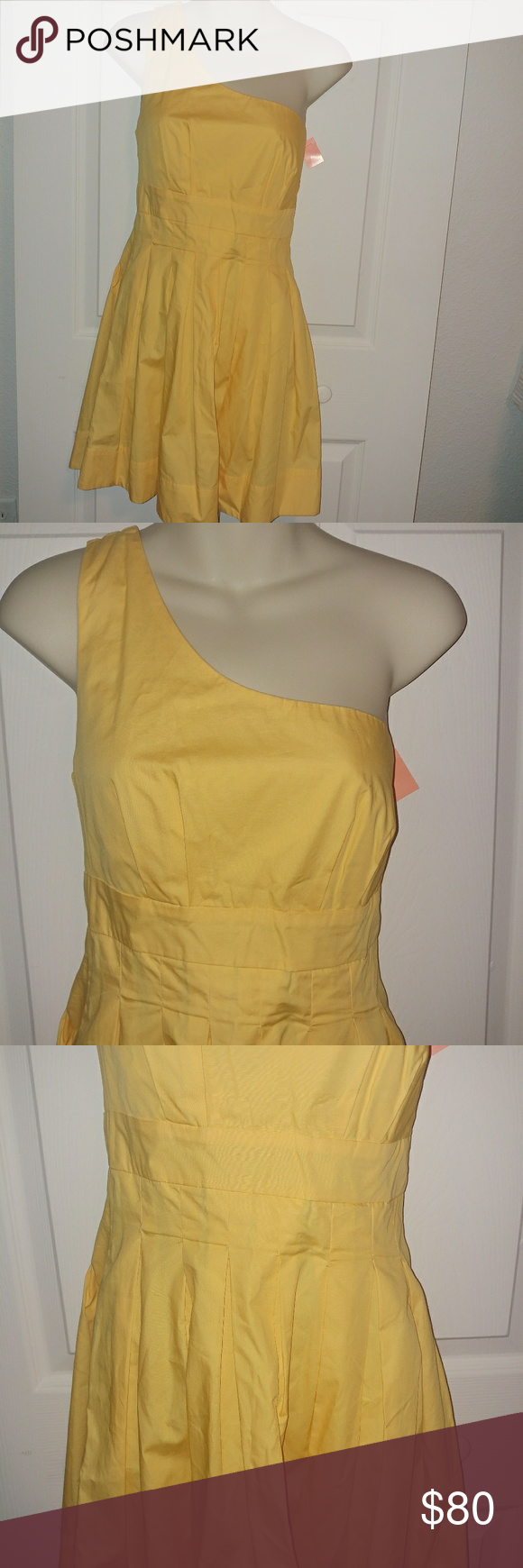Yellow one shoulder short pleated prom dress boutique dress prom