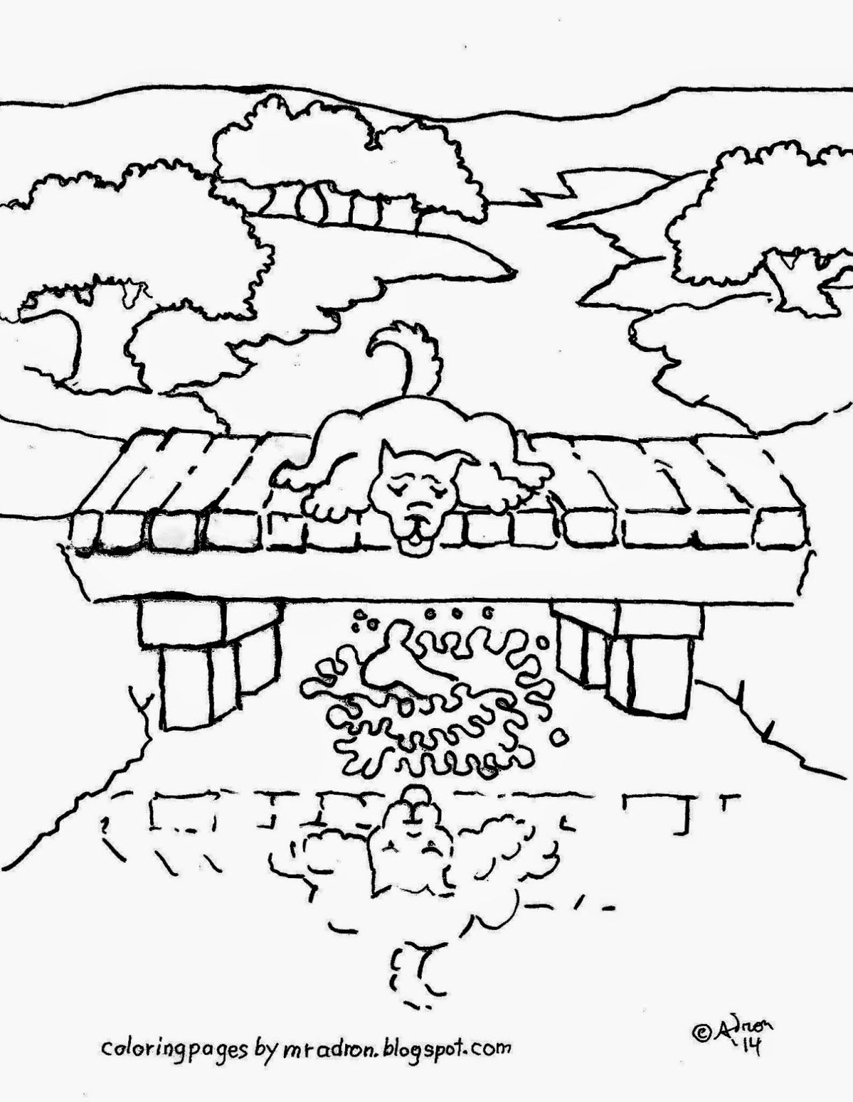 Aesop\'s fable coloring page of the dog who drops his bone. See more ...