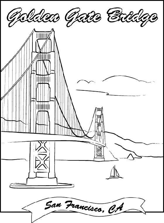 Golden Gate Bridge Coloring Page Golden Gate Bridge Drawing
