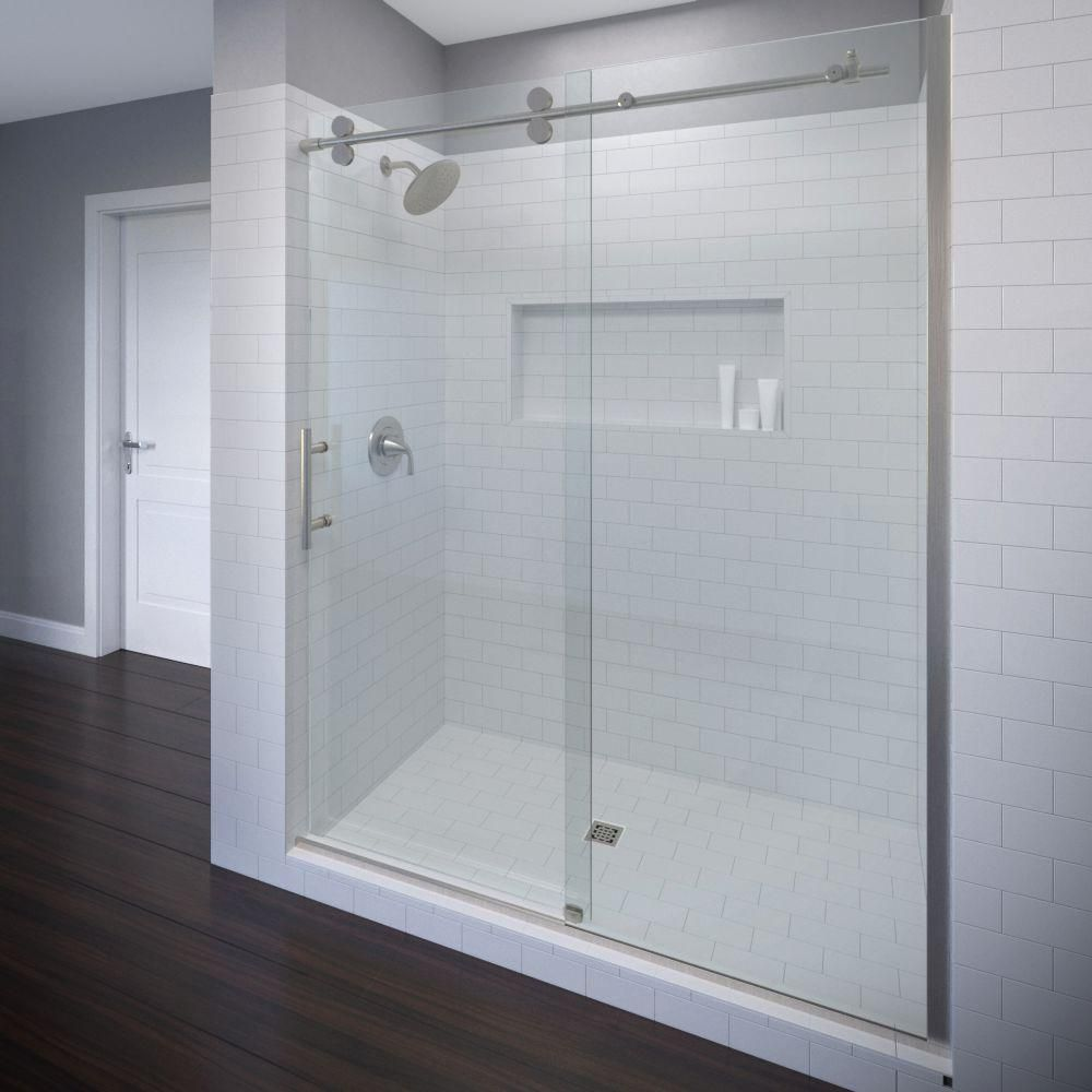 Basco Vinesse Lux 59 In X 76 In Semi Frameless Sliding Shower Door And Fixed Panel In Brushed Nickel Vnxa 935 59xpbn Shower Doors Frameless Sliding Shower Doors Frameless Shower Doors