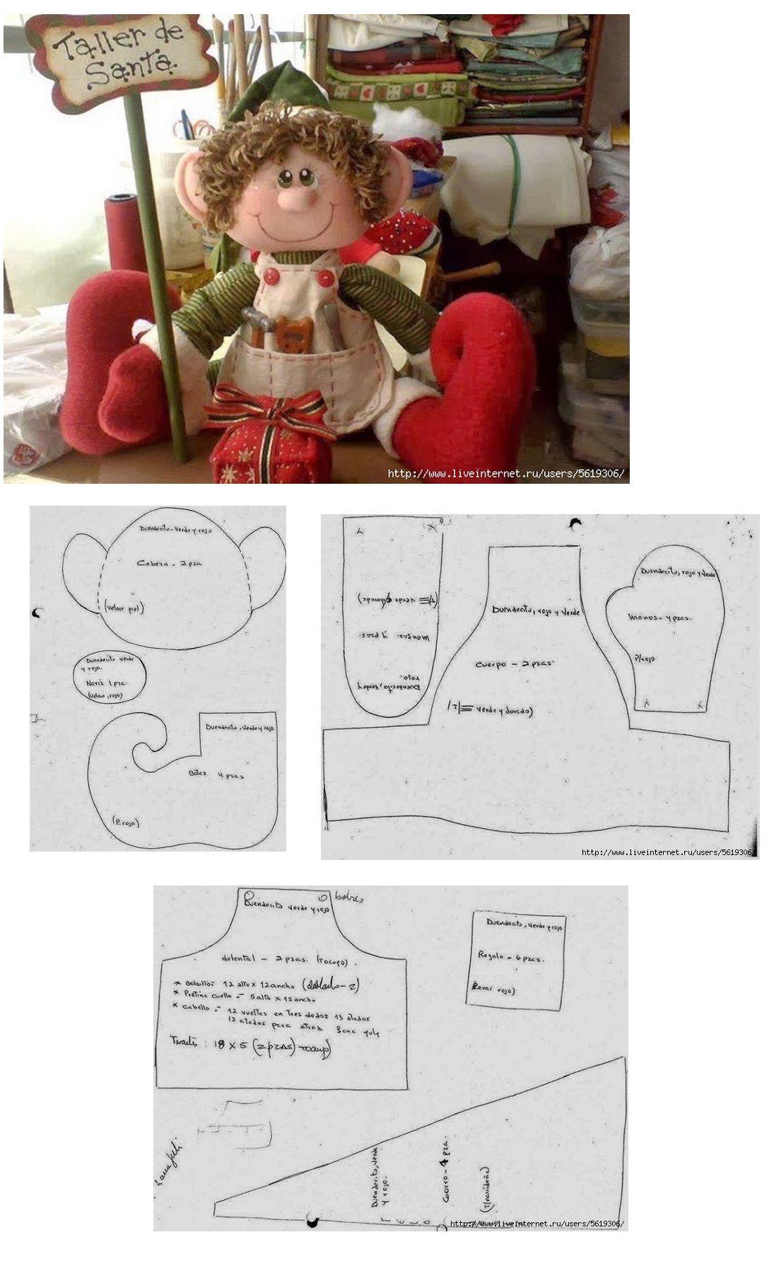Elfo con sus patrones | moldes navideños | Pinterest | Muñecas ...