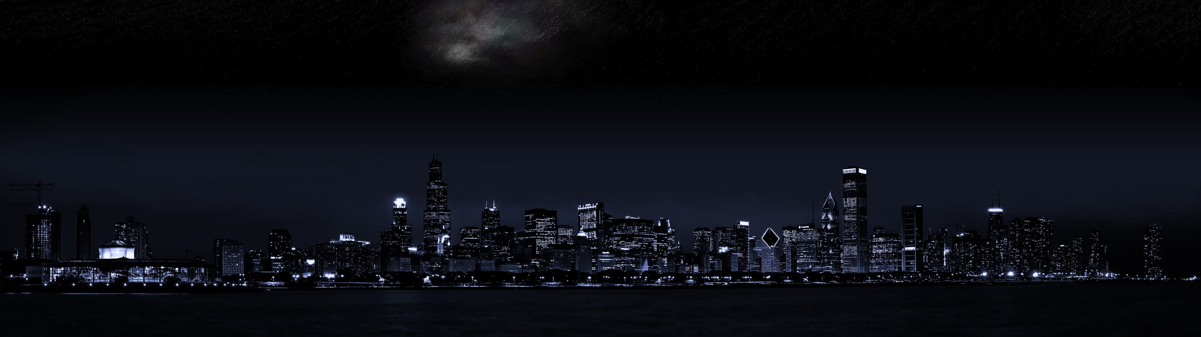 City Buildings City View At Night Time City Dark Cityscape Night 4k Wallpaper Hdwallpaper Dual Screen Wallpaper Dual Monitor Wallpaper City Wallpaper