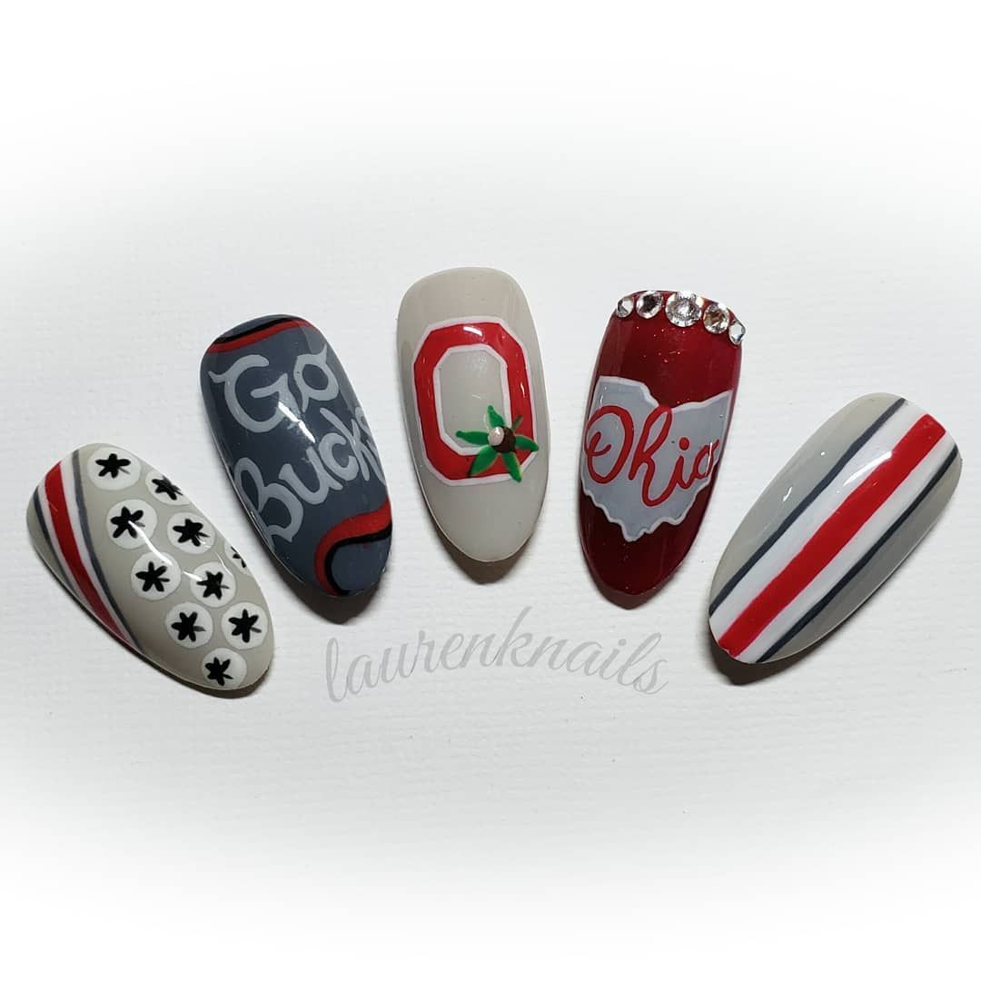 "Lauren at Charles Scott Salon on Instagram: ""Ohio State Buckeyes nail art!"