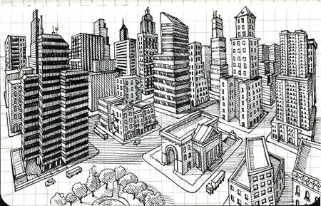 2 point perspective drawing city - Google Search