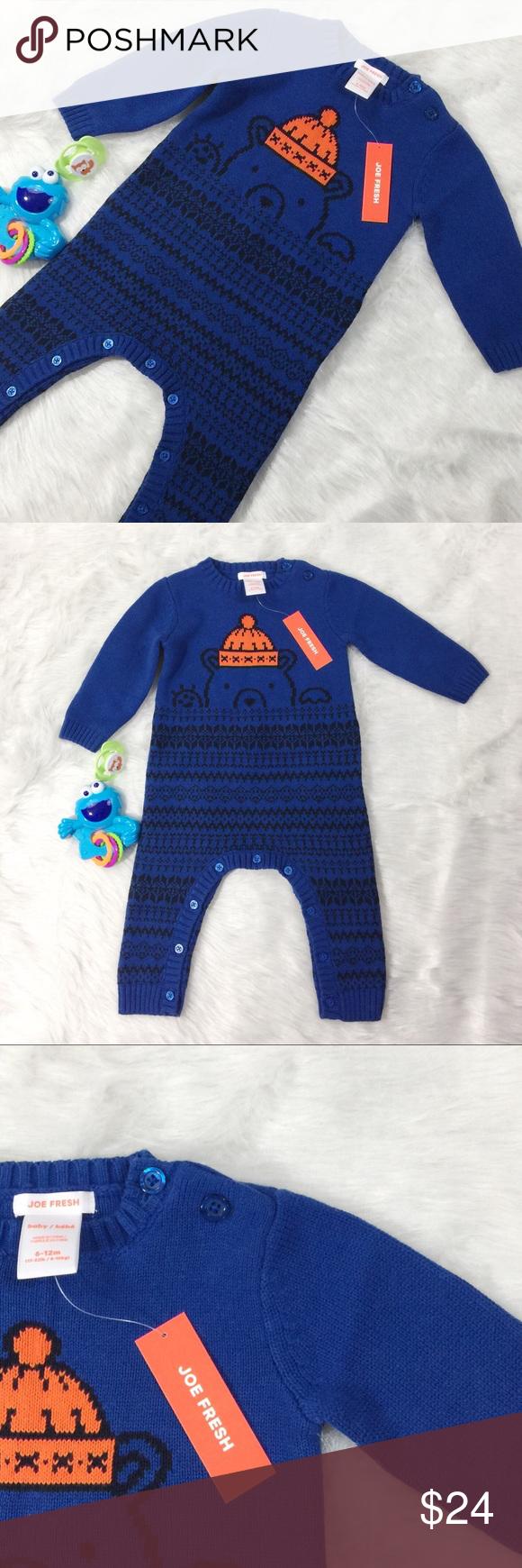 056396deb New Joe Fresh Baby Boys Bear Sweater Romper Keep him warm in our 100 ...