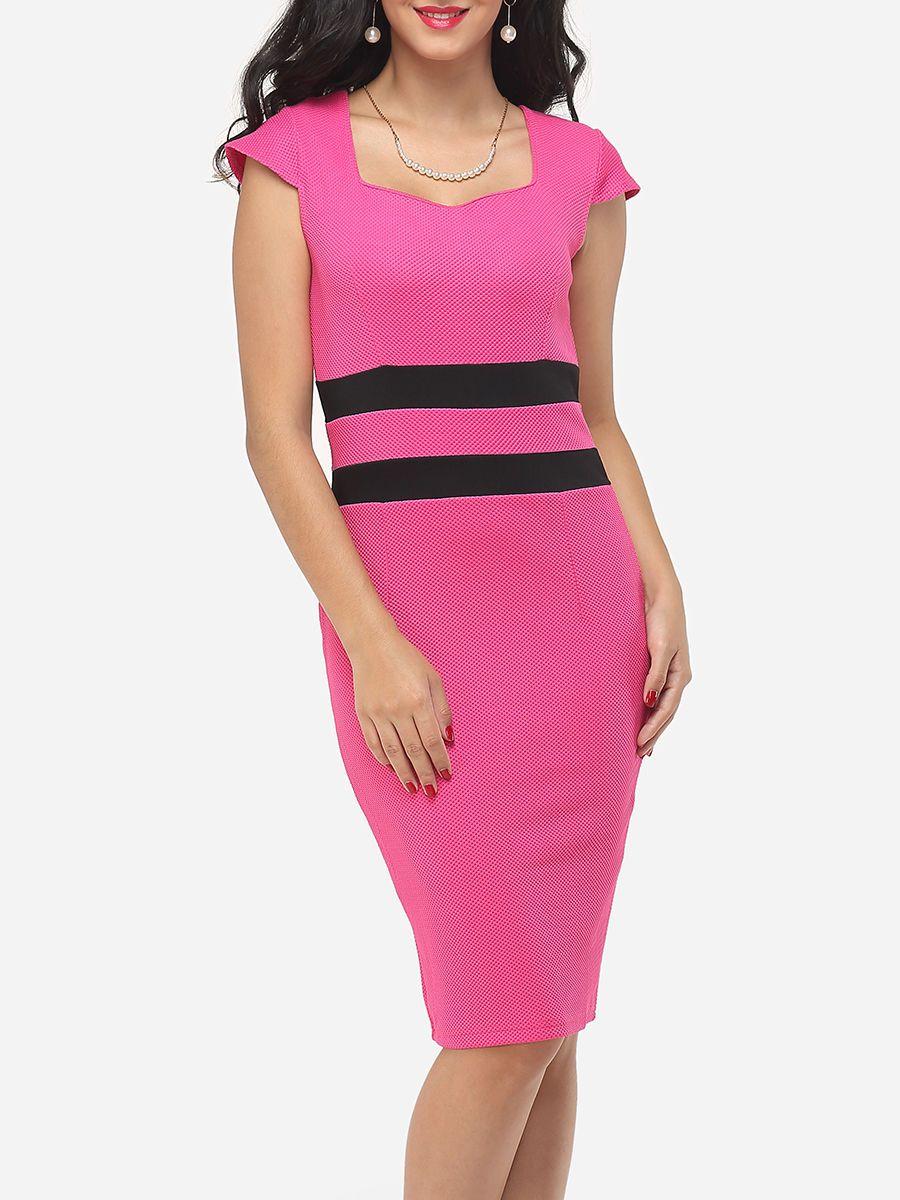 Color Block Split Striped Modern Sweet Heart Bodycon-dress