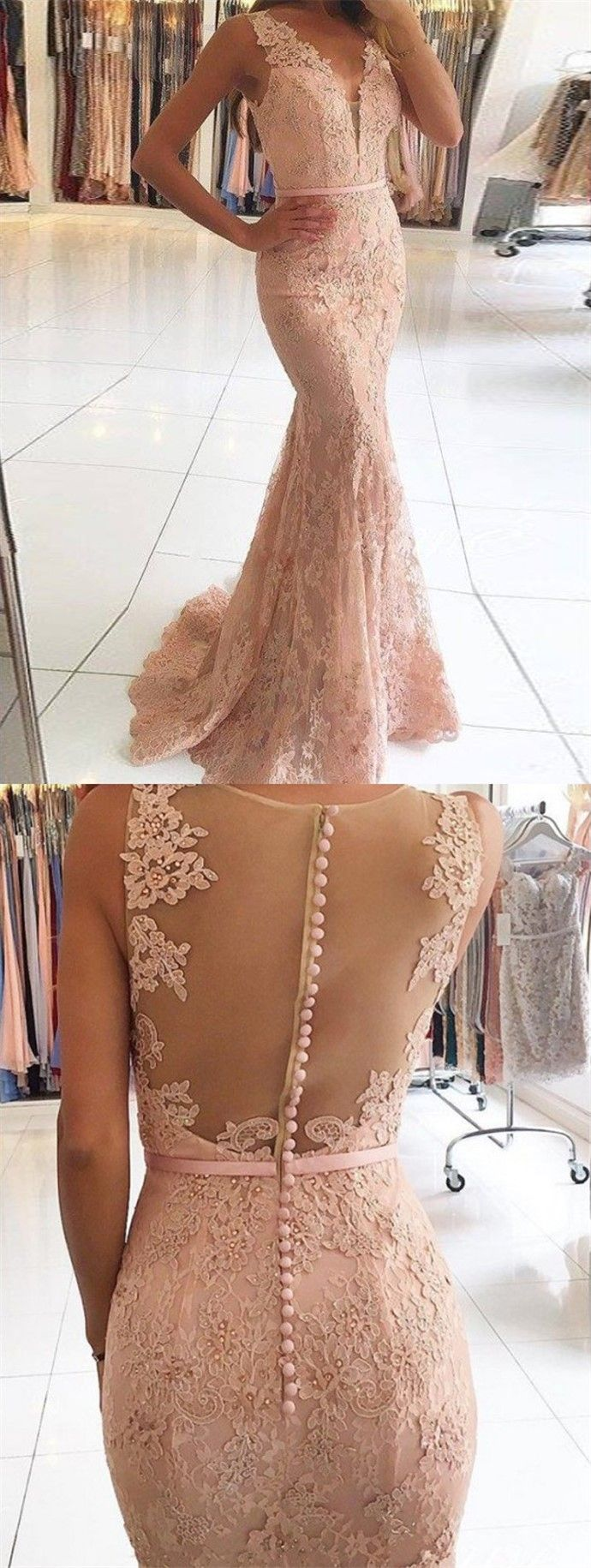 Mermaid vneck sweep train pink lace prom dress with beading
