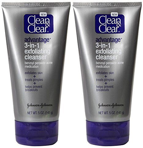 CLEAN & CLEAR ADVANTAGE 3-In-1 Exfoliating Cleanser 5 oz (Pack of 4) Glysolid Skin Balm Cream 100ml 3.38oz Pack of 12