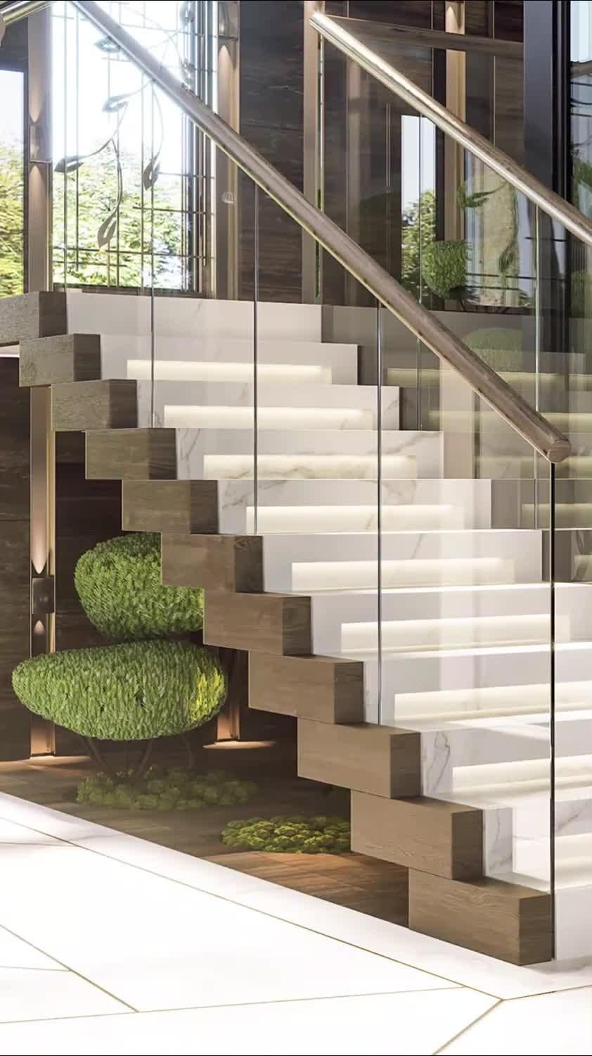 Great dream house staircase with wood and marble d