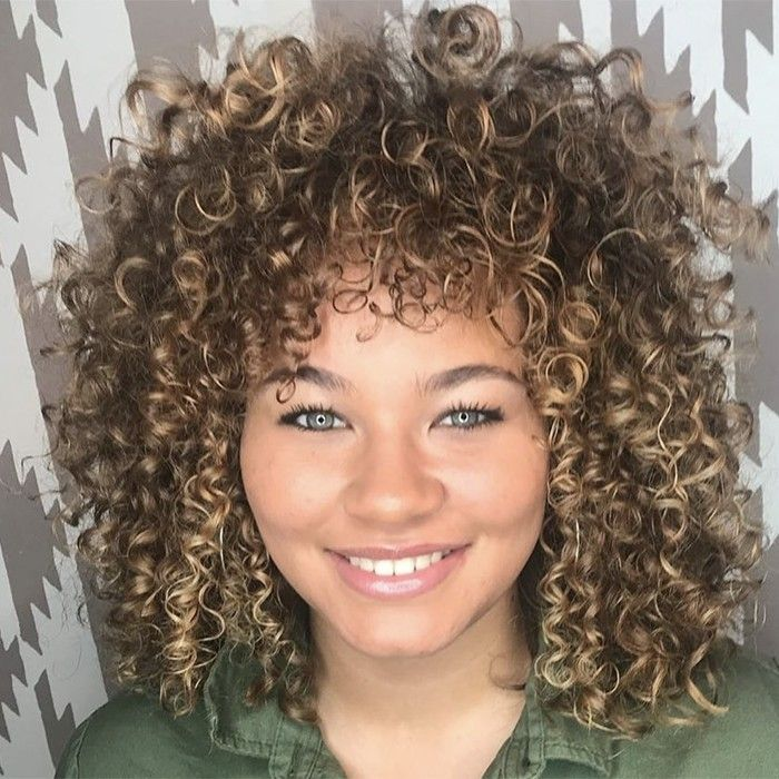 Curly Hairstyles for Round Faces in 2019 | Curly hair fringe, Curly hair styles, Curly hair with ...