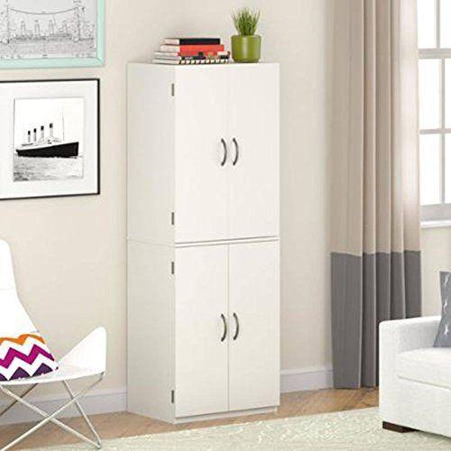 Gracelove Kitchen Pantry Storage Cabinet White 4 Door Shelves Wood Organizer Furniture Kitchen Cabinet Storage Pantry Storage Cabinet Tall Cabinet Storage