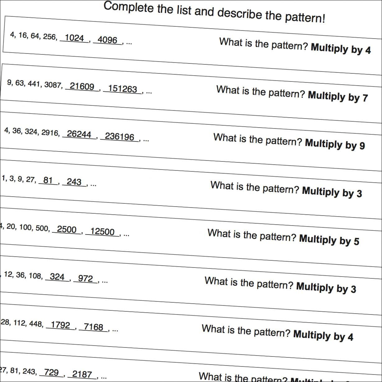 Multiplication Pattern Worksheet