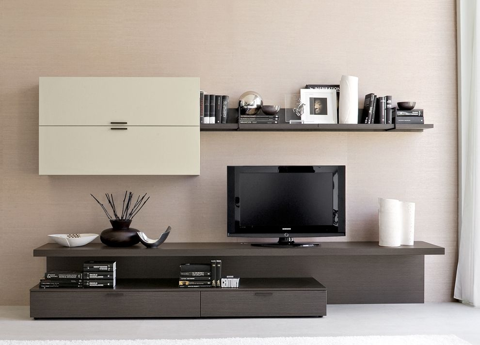 wall unit design combined with a long desk panel and chest of drawers
