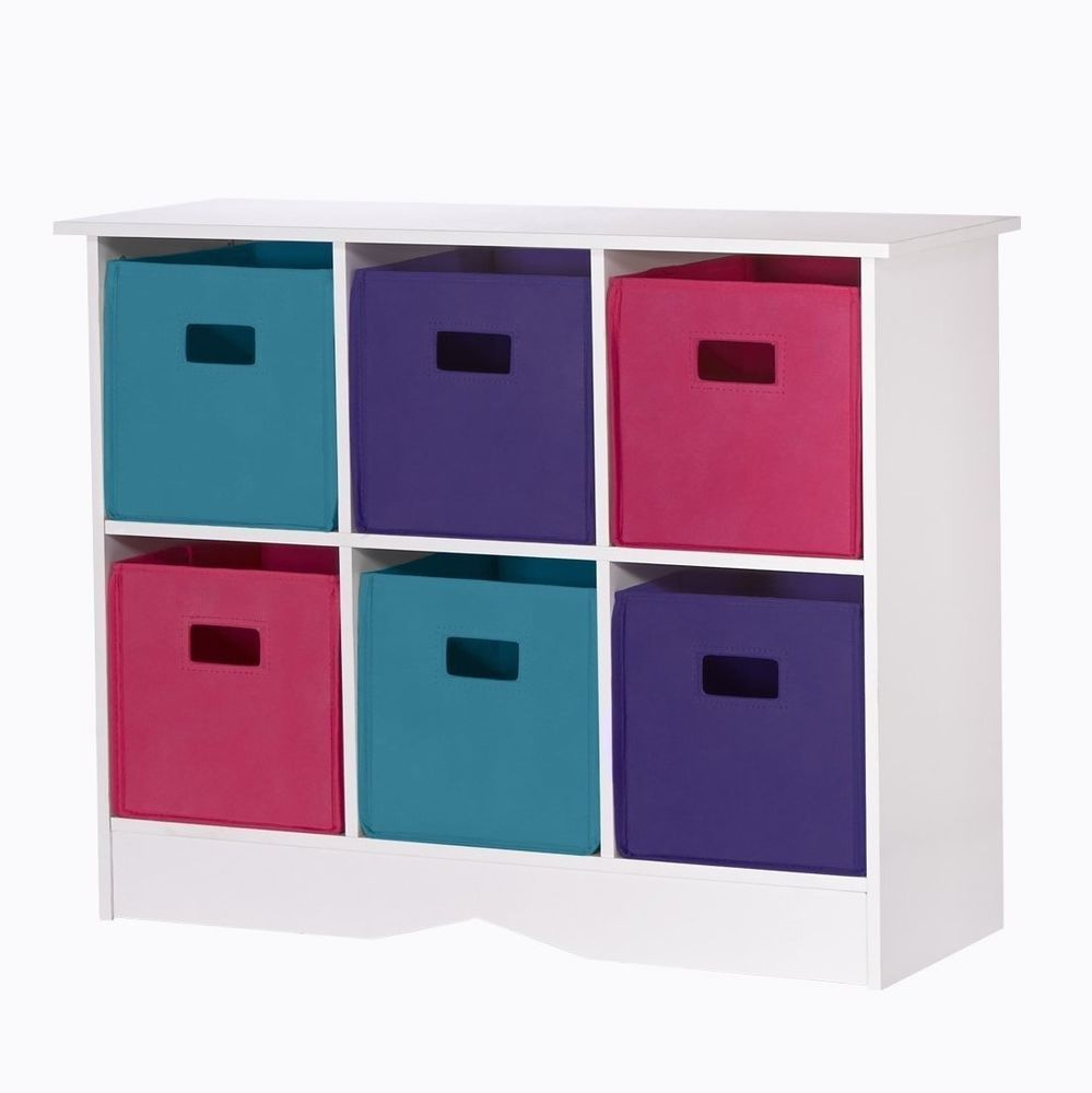 Kids Girl Toy Storage Colorful Bins Pink/Purple Chest/Organizer Furniture  WHITE