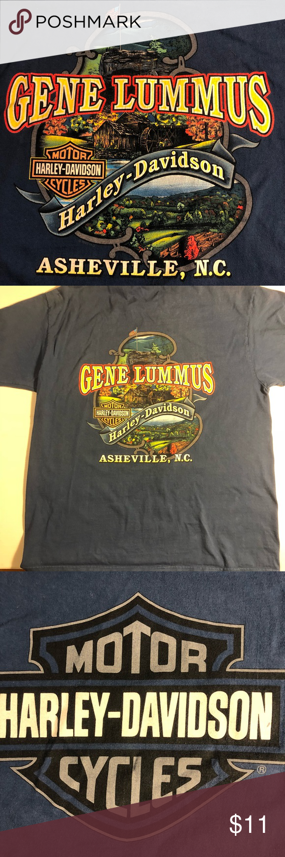 HARLEY DAVIDSON Asheville NC denim blue tee XL | Asheville NC ...