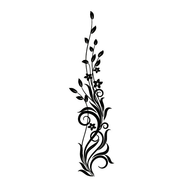 flower ornament silhouette wall tattoo templates and stencils for crafts pinterest wall. Black Bedroom Furniture Sets. Home Design Ideas