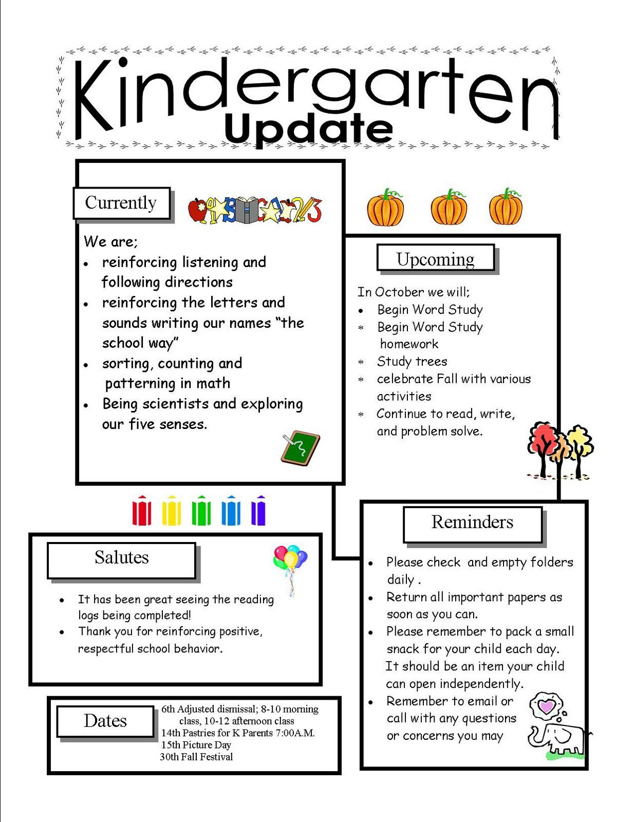 Kindergarten newsletter templates for free tuesday for Class newsletter ideas