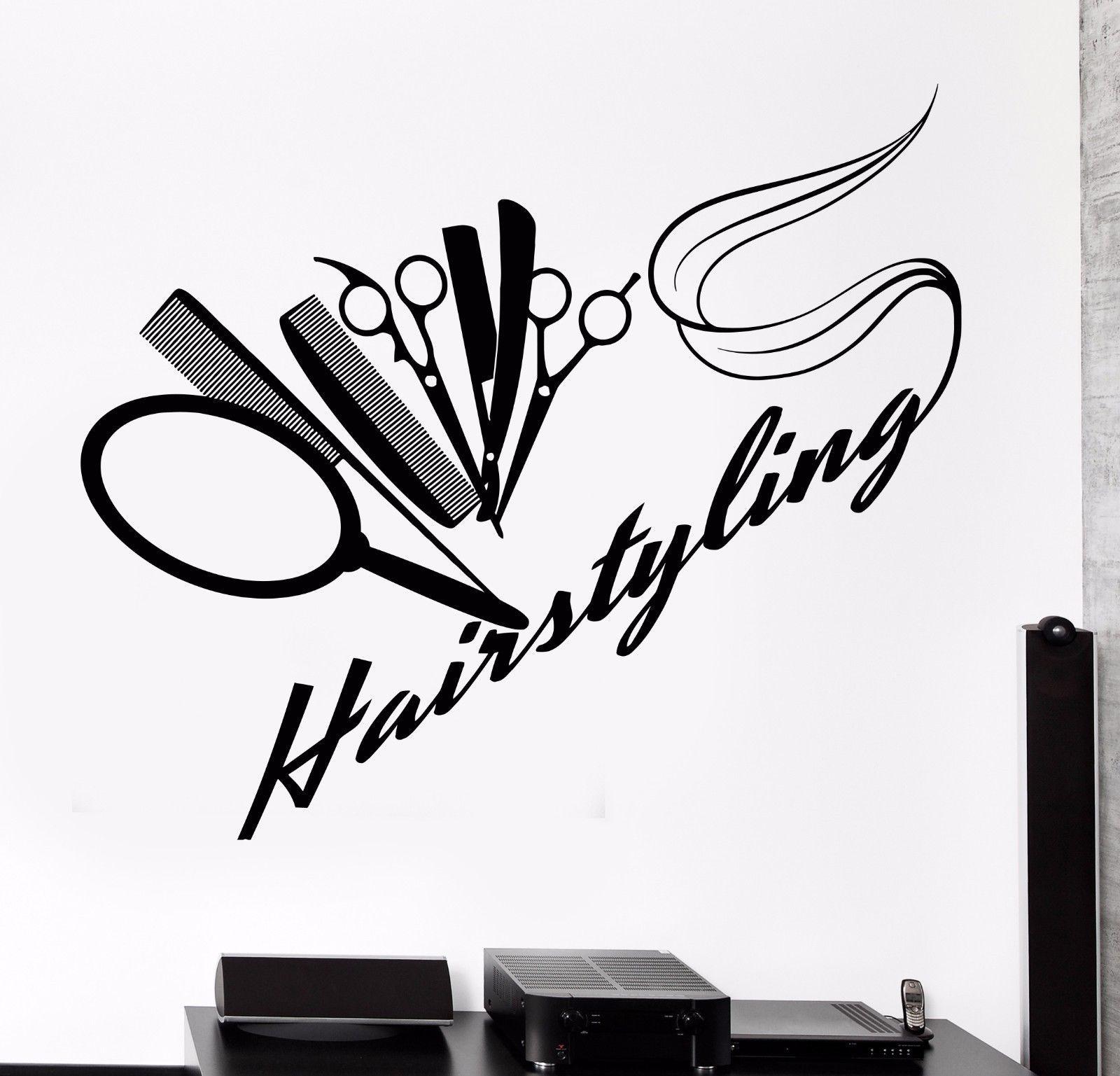 Vinyl wall decal barbershop hairdressing salon hair stylist stickers