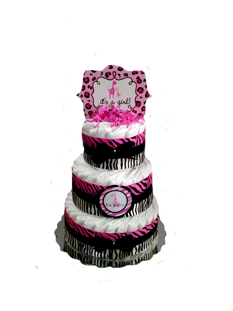 3 Layer Zebra Sweet Safari Print Pink And Black Baby Shower Diaper