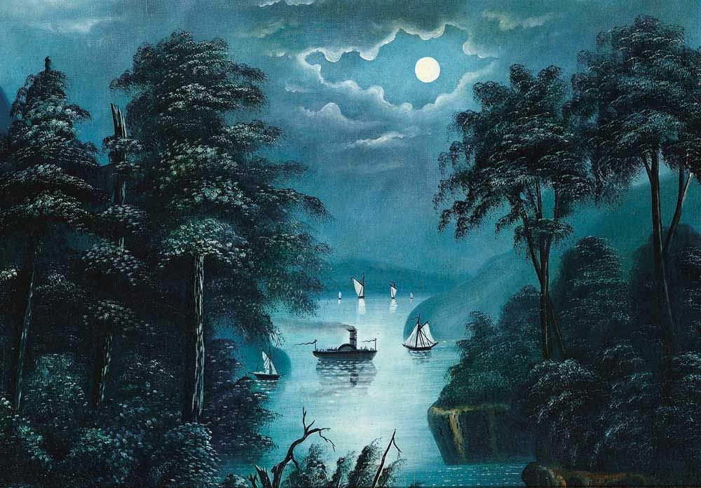 MOONLIT SCENE / William Matthew Prior (1806–1873), Boston, 1850–1860, oil on canvas, 23 1/2 x 33 1/2 in., American Folk Art Museum, gift of Stephen Mazoh, 2002.30.8, photo by Gavin Ashworth