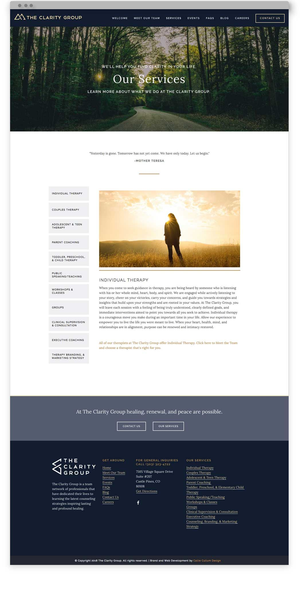 Website Design For The Clarity Group A Therapy Practice Based Outside Of Denver Colorado The Des Therapy Website Design Website Design Custom Website Design
