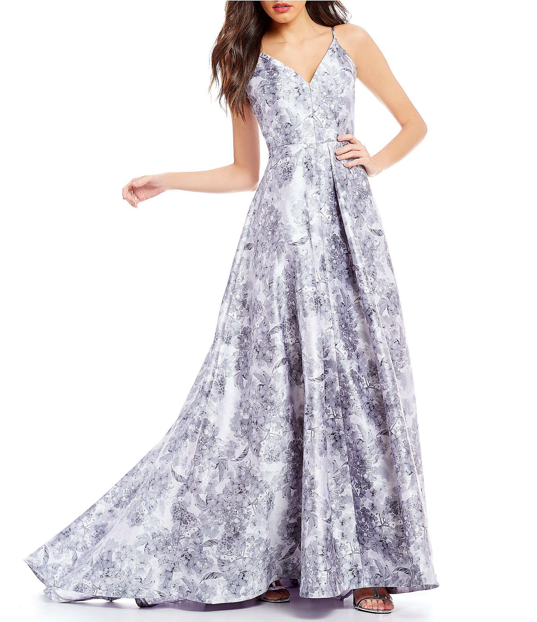 Calvin Klein Floral Print Exposed Back Gown #Dillards | Style ...