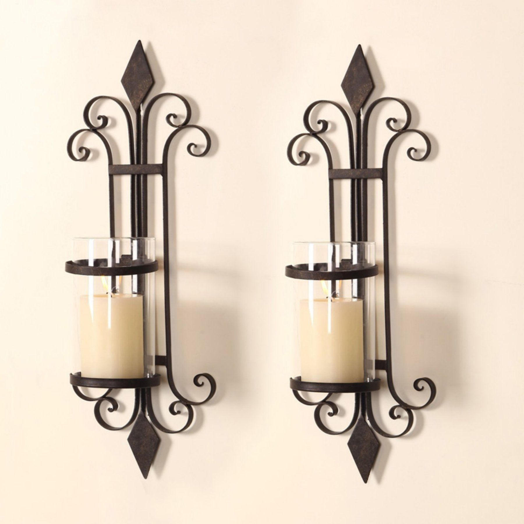 Adeco Trading Iron And Glass Candle Wall Sconce Set Of 2 Hd0006