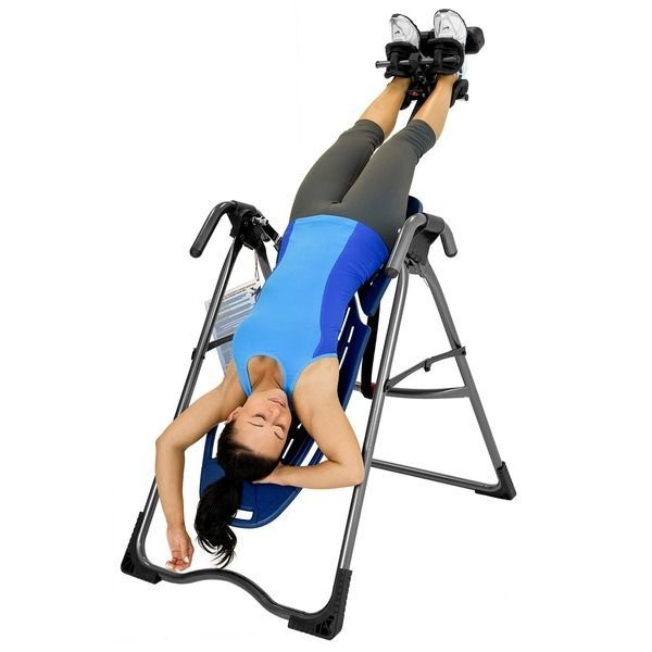 hanging upside down chair for back dining room seat covers grey inversion table w pain relief exercise dvd hang machine