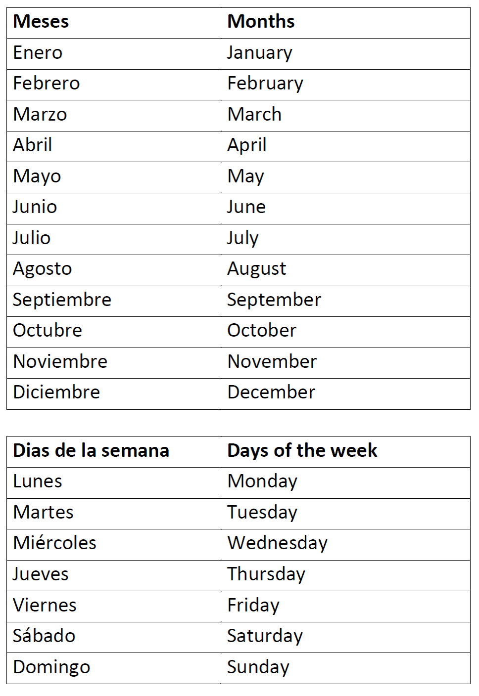 Months of the Year and Days of the Week | Spanish Worksheets for ...