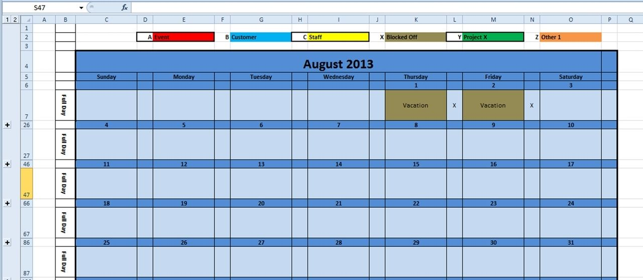 Printable Monthly Calendar  Excel Template  Monthly Planner