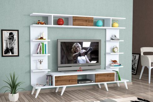 meuble tv 3 abattants pan blanc et imitation ch ne inspi maiz pinterest meuble tv tv et. Black Bedroom Furniture Sets. Home Design Ideas