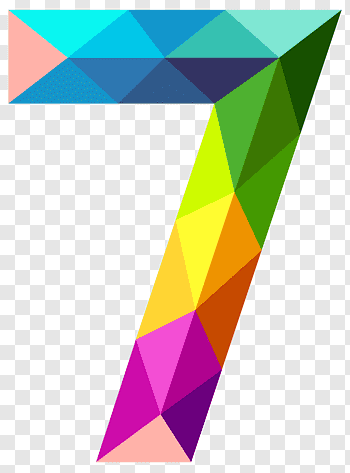 Icon Colourful Triangles Number Seven Multicolored Geometric 7 Free Png Geometric Artwork Geometric Background Graphic Design Brochure