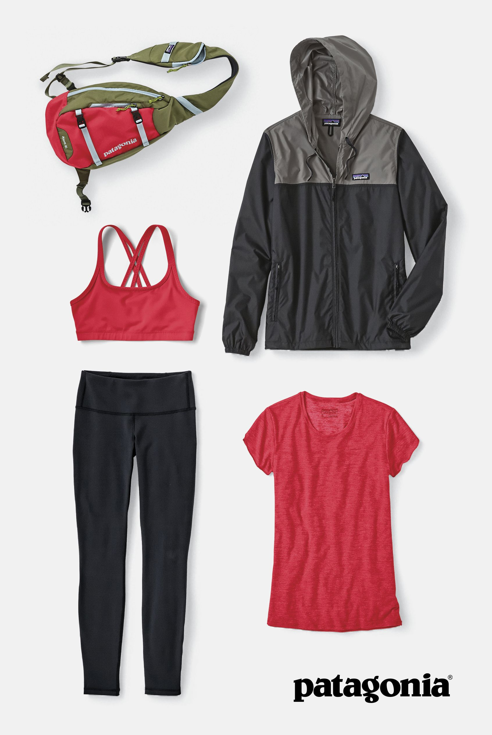 The Women's Yoga & Activewear Collection – a collection with untold hours of product testing, long lasting fabrics plus our mission to cause the least harm. (clockwise from top left) The Atom Sling 8L, Light & Variable Hoody, Glorya Tee, Centered Tights and Cordelisse Bra. Begin gathering your collection today.