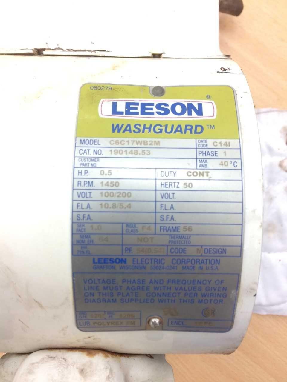 Leeson 190148 53 C6c17wb2m Washguard Motor Coding Motor Hertz