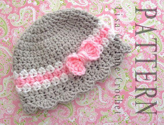 Baby Hat Crochet PATTERN, Baby Girl Hats PATTERN, Crochet Bow ...