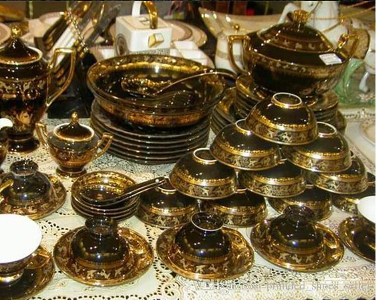 European Luxury Black Color Bone China Tableware Sets Gold Inlay Ceramic Dinnerware Set Clearance Dinnerware Sets Shop Dinnerware Sets From Branded_shoes_seller, $1427.14| Dhgate.Com