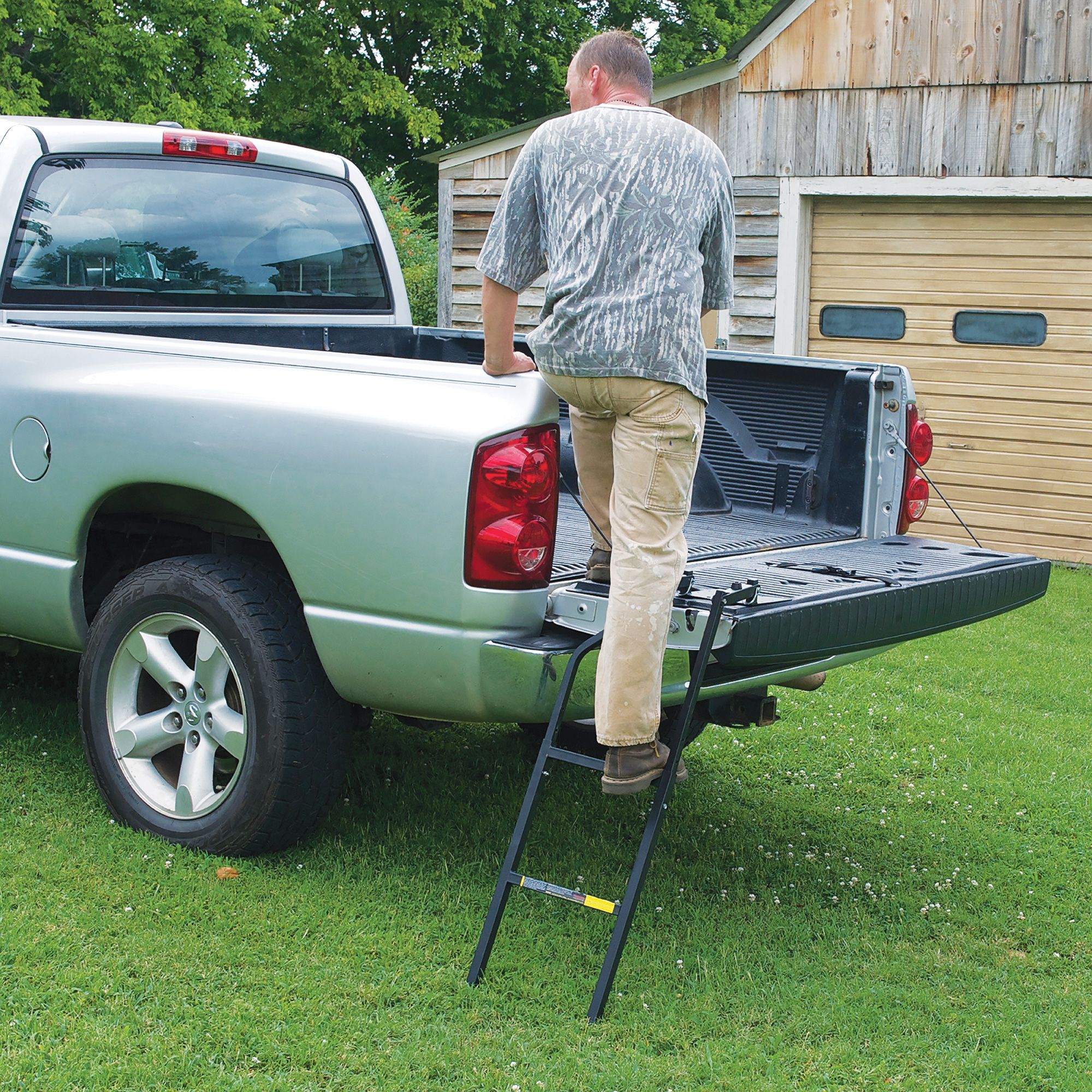The Tailgate Ladder swings easily into position for quick
