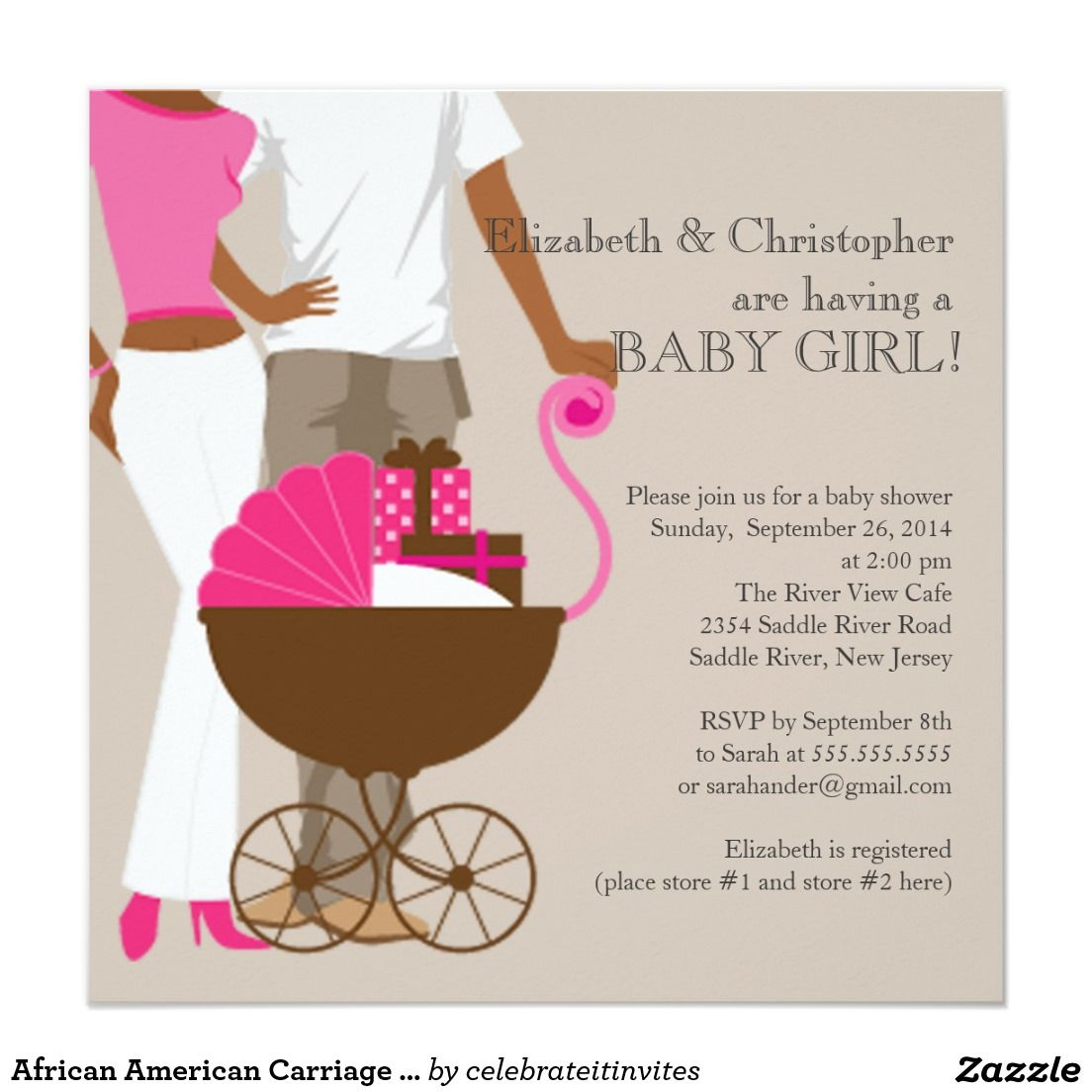African American Carriage Couple Baby Shower 5.25x5.25 Square Paper ...