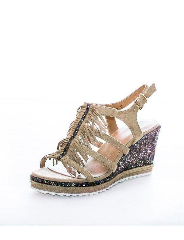 29406a2c77b Sandalia Cuña Brillos y Flecos - Beige Zapatos Primavera