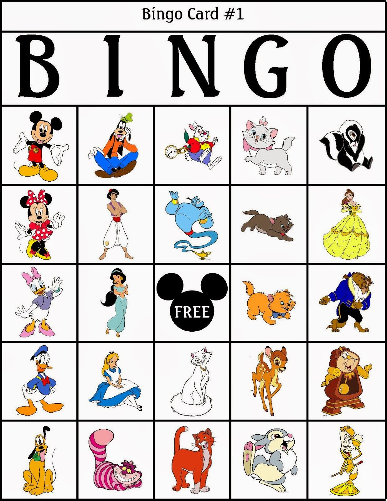 Bingo de Personajes Disney, para Imprimir Gratis.   Paper Doll ...