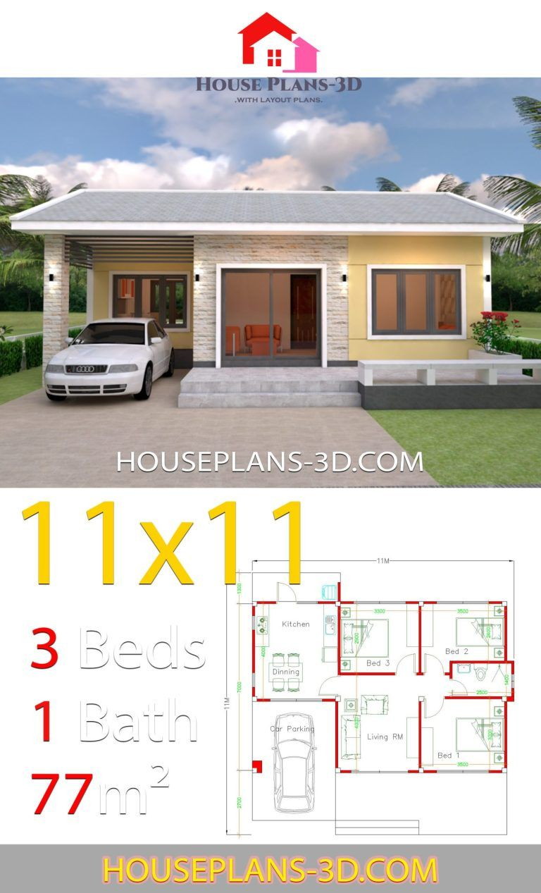 House Design Plans 11x11 With 3 Bedrooms Simple House Design