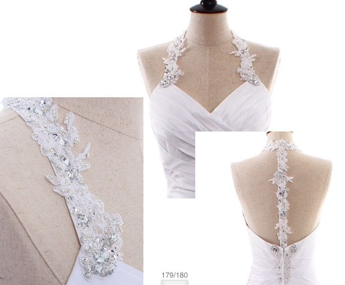 Detachable straps. Could be as shown in photo ( halter neck )... Or as regular straps that go over the shoulder. Appliquéd, 3D lace straps beaded with rhinestones. Would be a lovely addition to your strapless gown for some extra support or a 2nd look. Have these beautiful straps custom made for yourself on Etsy by Rosemarydesignsbride or email me direct at Rosemarydesignsbride@gmail.com