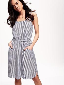 ed8b5370d3 Striped Linen-Blend Cami Dress for Women