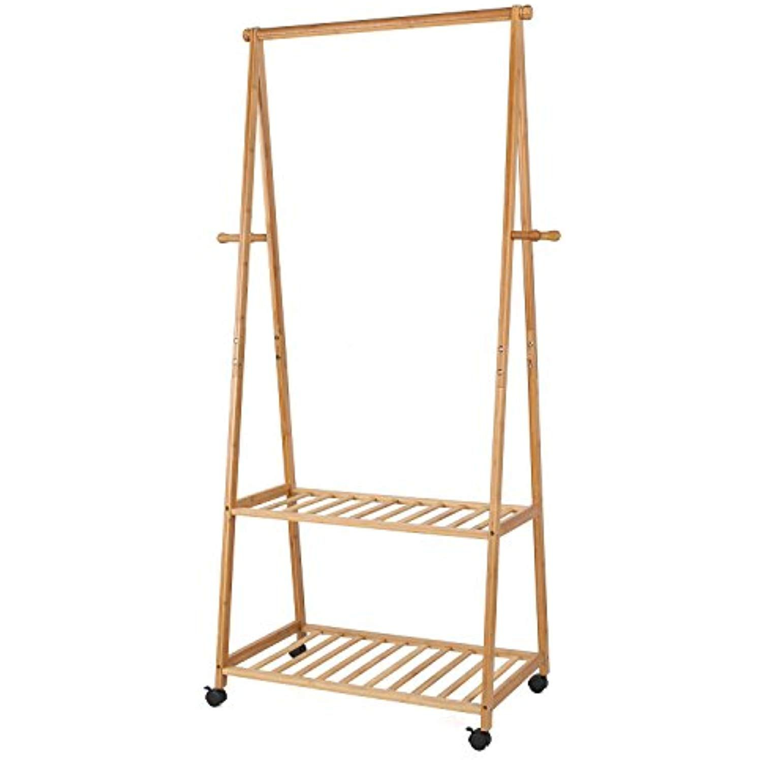 Homfa Bamboo Clothes Rack On Wheels Rolling Garment Rack With 2 Tire Storage Shelves And 4 Coat Hooks For Shoe Rolling Garment Rack Clothing Rack Garment Racks