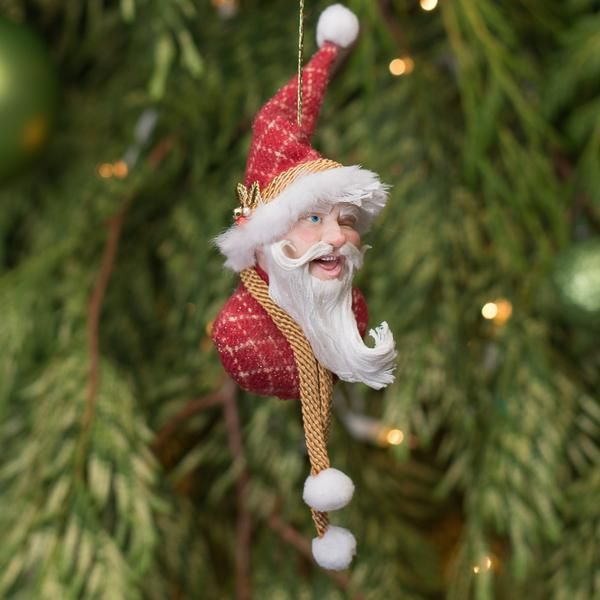 Santa Claus - Winking Handmade Christmas collectable 5-Hanging Ornament-kenfolks
