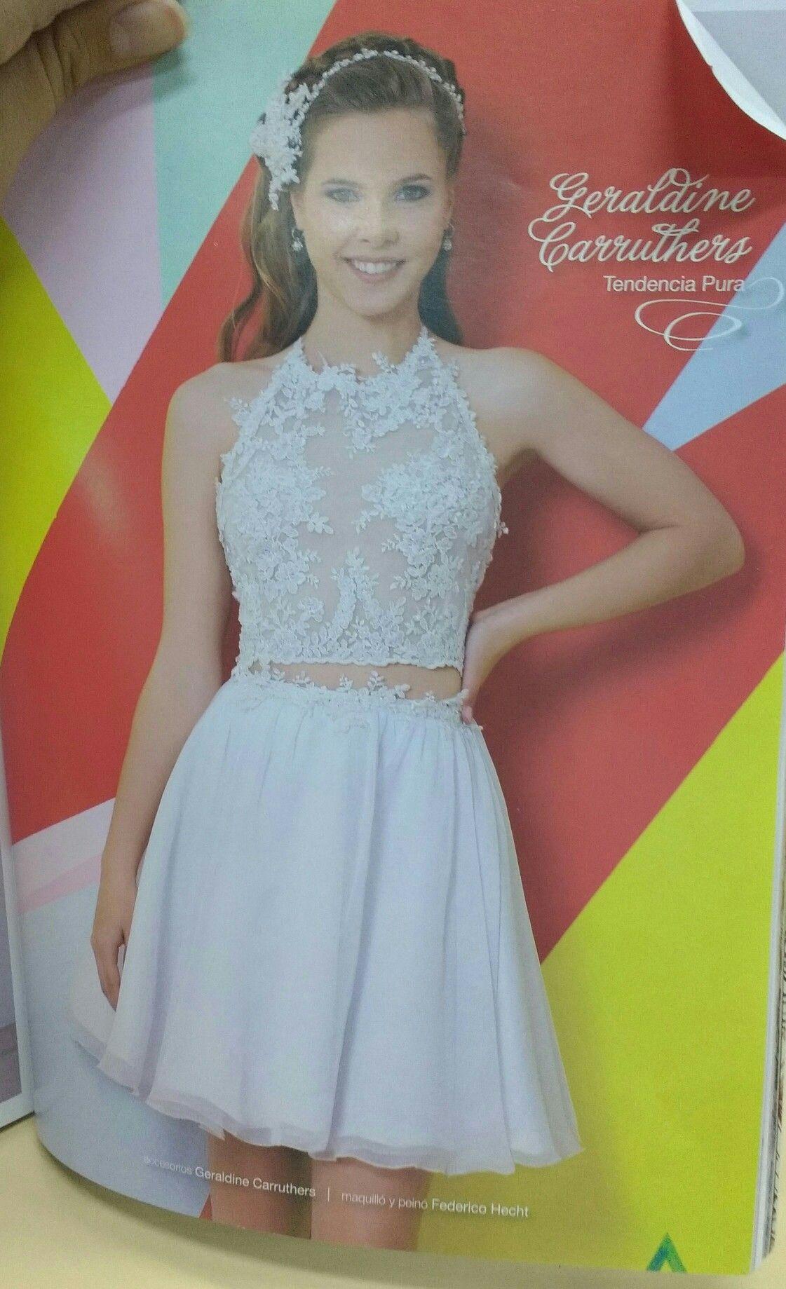 Top y pollera vestido de 15 blanco de revista | Vestidos ...